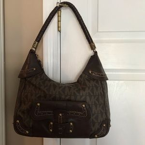 Michael Kors Signature Brown hobo braid strap